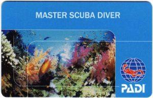 PADI Master Scuba Diver Rating Card