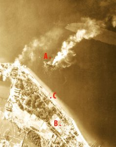 Oryoku burning after attack on 15 December 1944 about 11 AM.